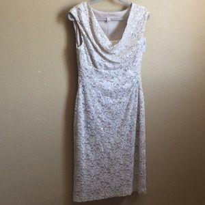 Dress Barn cap sleeve cream color w/tiny sequins.